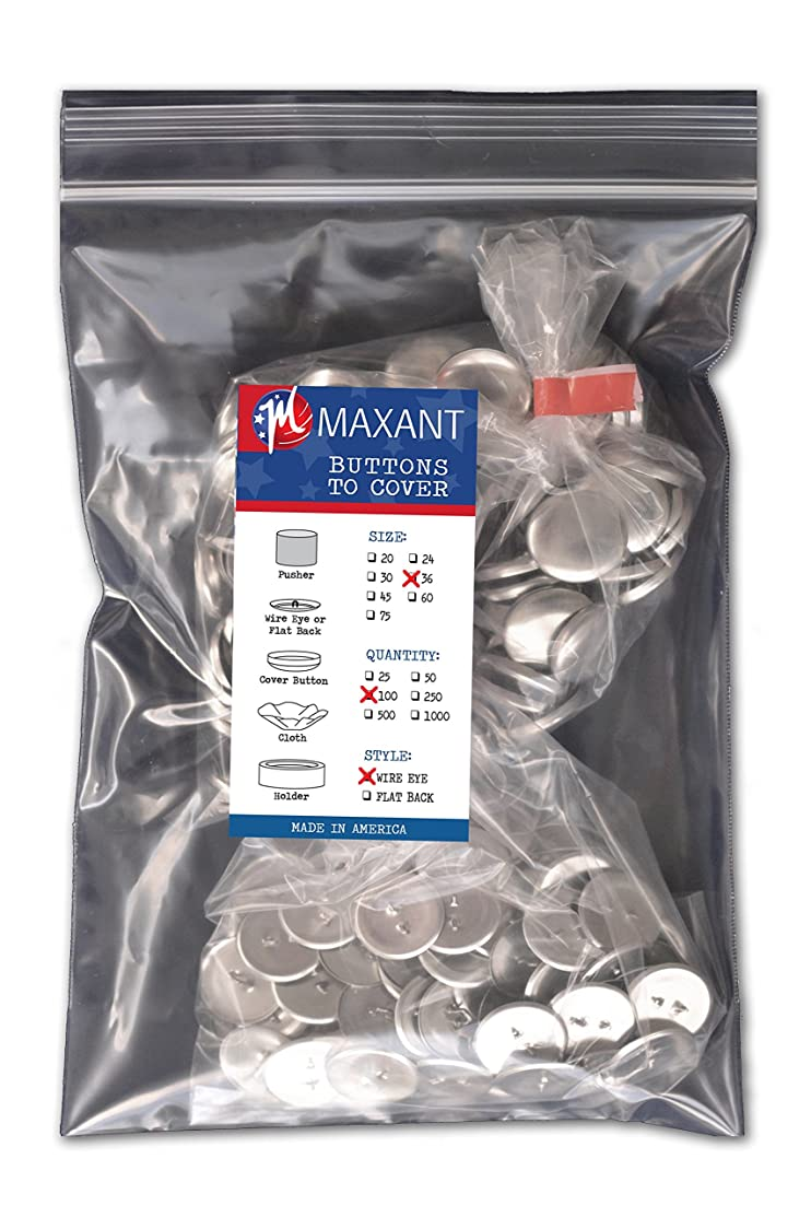 100 Buttons to Cover - Made in USA - Cover Buttons With Wire Eye Backs Size 36 (7/8