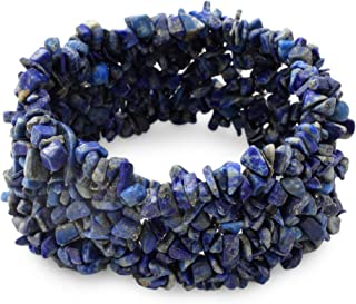 Lapis Lazuli Indigo Blue Gemstone Beaded Stretch Bracelet, 6.25