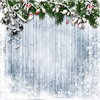 WOLADA 10x10ft Merry Christmas Backdrop Snowflake Vintage Wooden Wall Christmas Tree Photography Backdrop Child Baby Shower Newborn Portrait Party Decor Supplies Background Photo Booth Props 11717