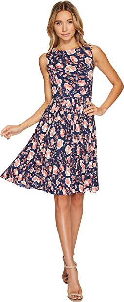 Printed Pleated Fit and Flare Dress