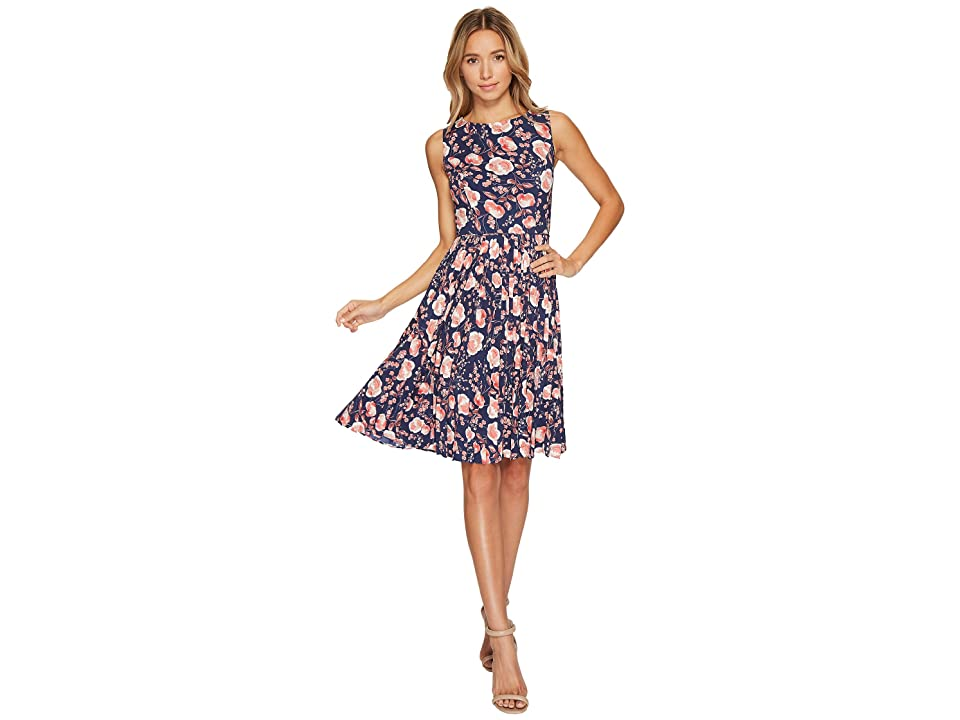 Adrianna Papell Printed Pleated Fit and Flare Dress (Coral Multi) Women