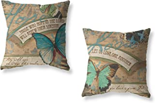 LuckyCow Butterfly Pattern Decorative Throw Pillow Covers Vintage Style Home Decorative Cushion Cover with Quote Pillowcas...