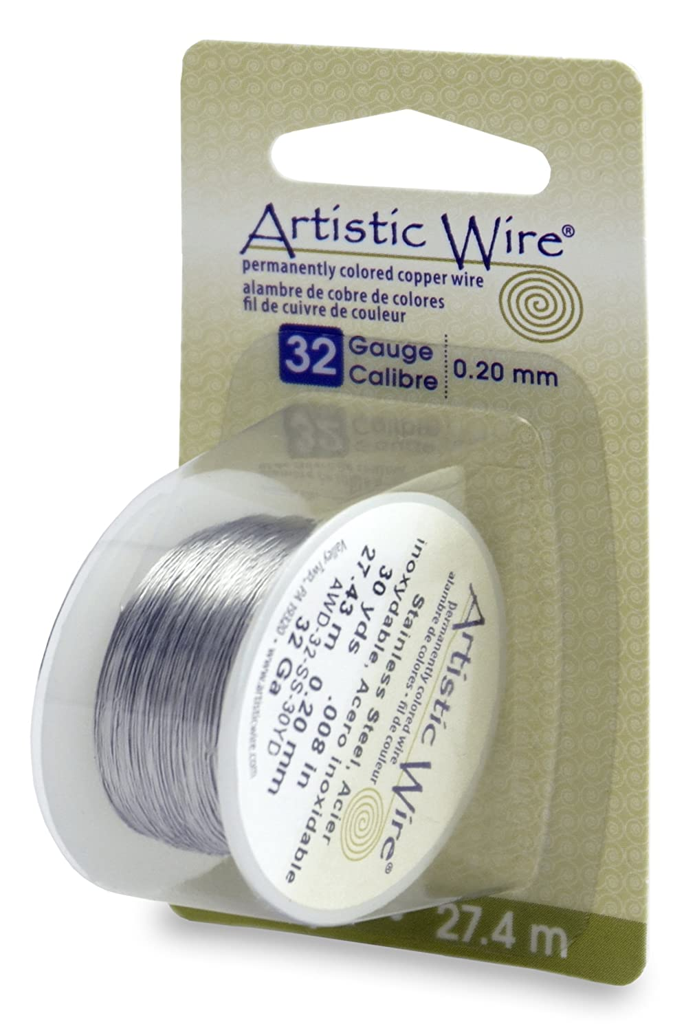 Artistic Wire Beadalon, 32 Gauge, Stainless Steel, 30 yd (27.4 m) Craft Wire, Shiny