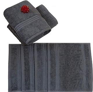 Divine Cotton Solid Pattern,Grey - Towels Set