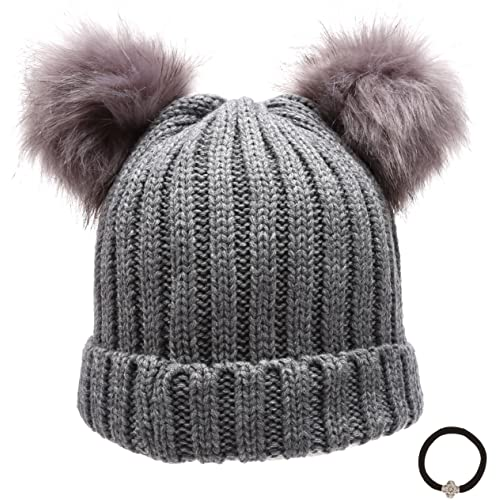 d336c91bc6e Epoch Women s Winter Chunky Knit Double Pom Pom Beanie Hat with Hair ...