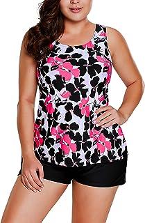 Sidefeel Women Floral Print Tankini Set Boyshort Swimsuit