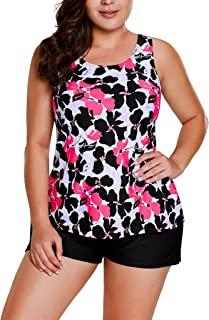 Sidefeel Women Floral Print Tankini Set Boyshort Swimsuit