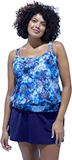 Women's Plus Size Loop Strap Blouson Tankini Top