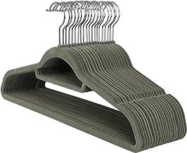 SONGMICS Kleiderbügel, SAMT, 20 Stück, 0,6 cm dick, Anzugbügel, Jackenbügel mit Rutschfester Oberfläche, mit Zwei Einkerbungen, 360° drehbarer Haken, Antirutsch, Grau CRF20V