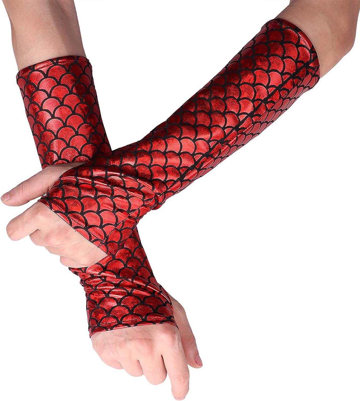 Women Girl Mermaid Fingerless Long Gloves Dancing Costume Halloween Arm Sleeves