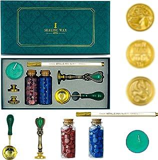 Coffret de Sceau à la Cire,3 tampons en laiton,sceau rétro pour lettre,Pour Le Cachetage de Timbres Emballage de Cadeaux E...
