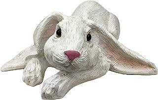 Universal Sculpture Garden Peaceful Lying Down White Garden Rabbit Statue | Super Cutie Lop Garden Bunny Statue, 11.8