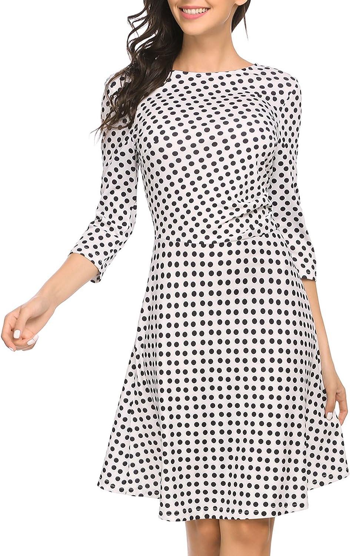 BEAUTYTALK Women's Polka Dot 3 4 Sleeves Wear to Work Aline Dress