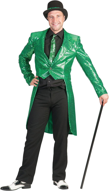 Generique Giacca a coda di rondine verde con paillettes per adulto L
