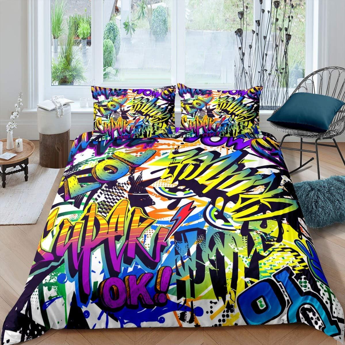 Hip Hop Decor Bedding Excellent Set Hippie Culture for Max 56% OFF Duvet Street Cover