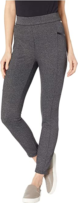 Pull-On Marled Pants w/ PU Trim
