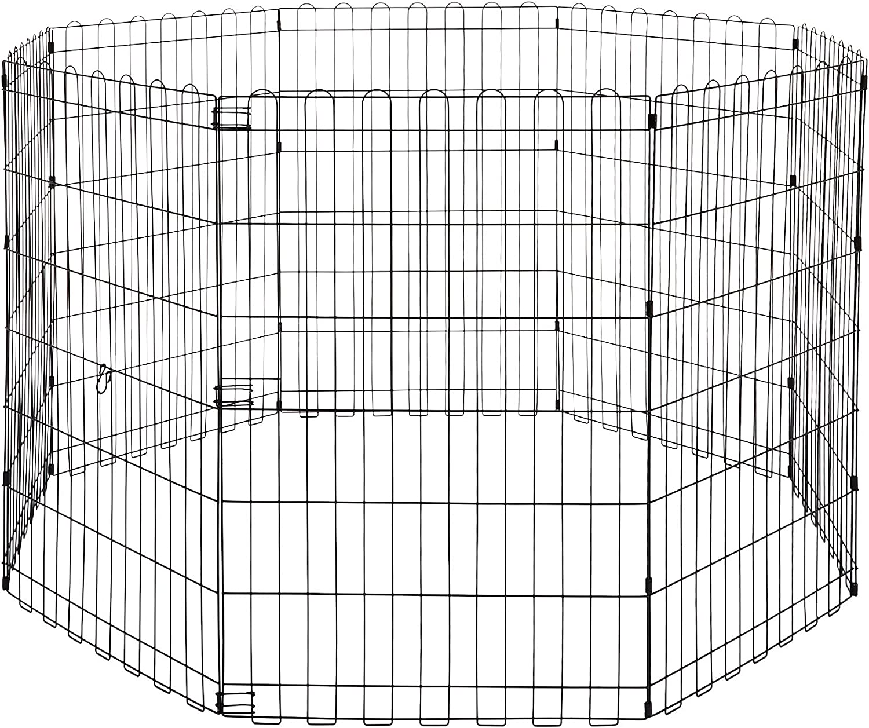 AmazonBasics Foldable Metal Pet Exercise and Playpen, 36
