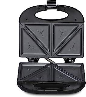 Agaro 33185 Elegant Sandwich Maker, 800 W with 4 Slice Non-Stick Fixed Plates (Black)