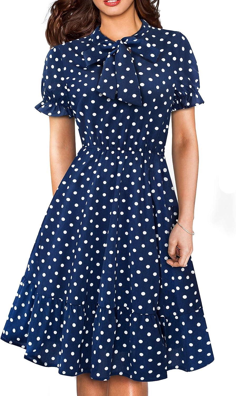 HOMEYEE Women's Long Sleeve Casual 5 ☆ popular Max 72% OFF Polka Aline Dot A Dress Swing