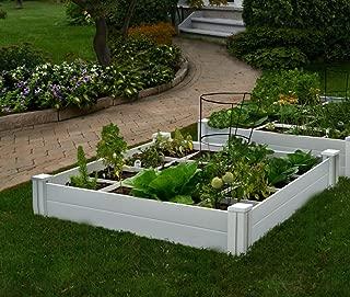 Vita Gardens VT17104 Vinyl Raised Bed with Grow 48in x 7.5in Garden with Grid, 7.38