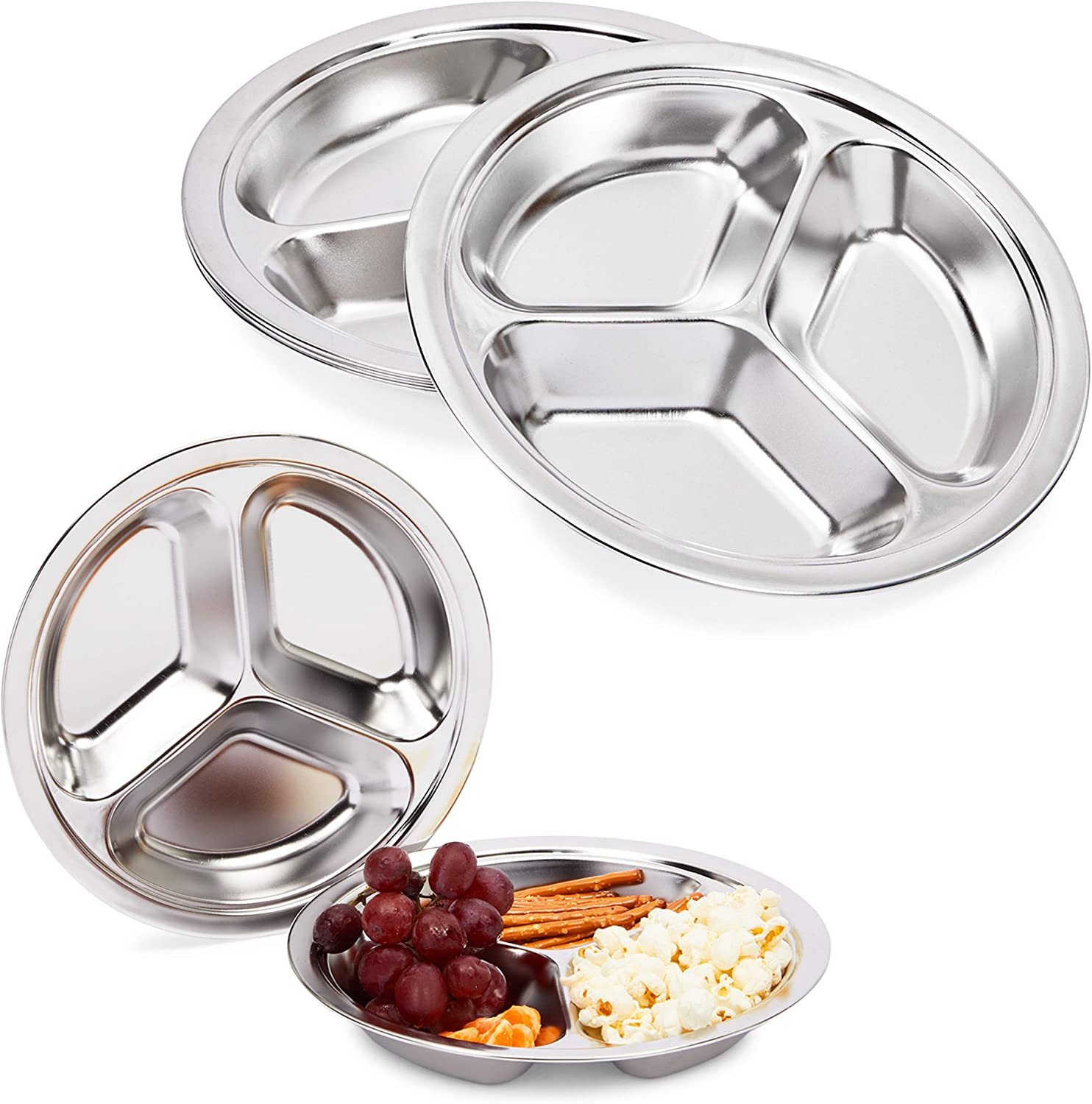 Divided Serving Tray, Stainless Steel Round Platter Dish (Silver, 9 In, 5 Pack)