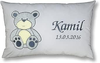 Amilian/® Kissen 40 x 40 cm mit Namen Datum Schmetterling Grau