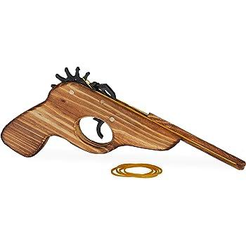 Relaxdays Gummiband Pistole, Spielzeugpistole aus Holz, mit 5x Gummiband, lustiger Spielspaß für Kinder, outdoor, natur