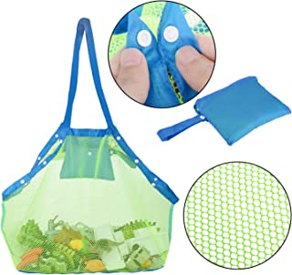 TopTops Mesh Beach Tote Bag, Kids Sea Shell Bags,Beach Toy Bag Away from Sand,Bag Toys Organizer,Sand Toys Collector-Beach Pool Gear(Green)