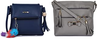 GLOSSY PU Sling Bag with keychain and Sling Bag with 5 Zip compartments - Combo Blue and Khaki