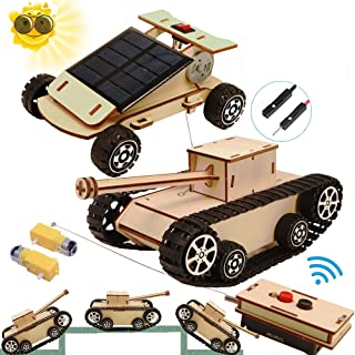DIY Wooden Kids Science Experiment Kits-Remote Control Off Road Tracked Tank and Solar Power Race Car,STEM Learning Toys G...