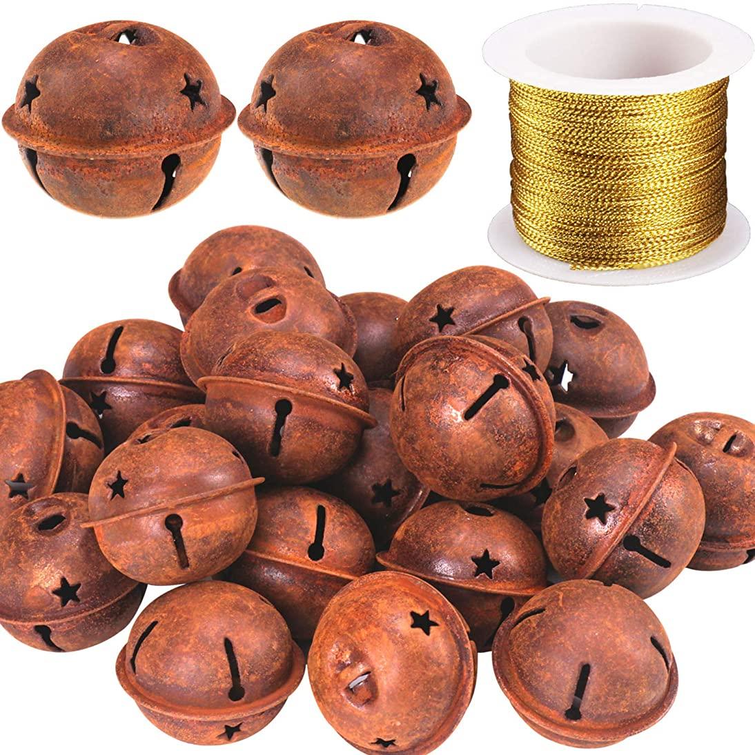Mayam 24 Pieces Rustic Rusty Jingle Bells with Star Cutouts Christmas Craft Bells with A roll of Gold Thread for Festival Decorations (1.58inch)