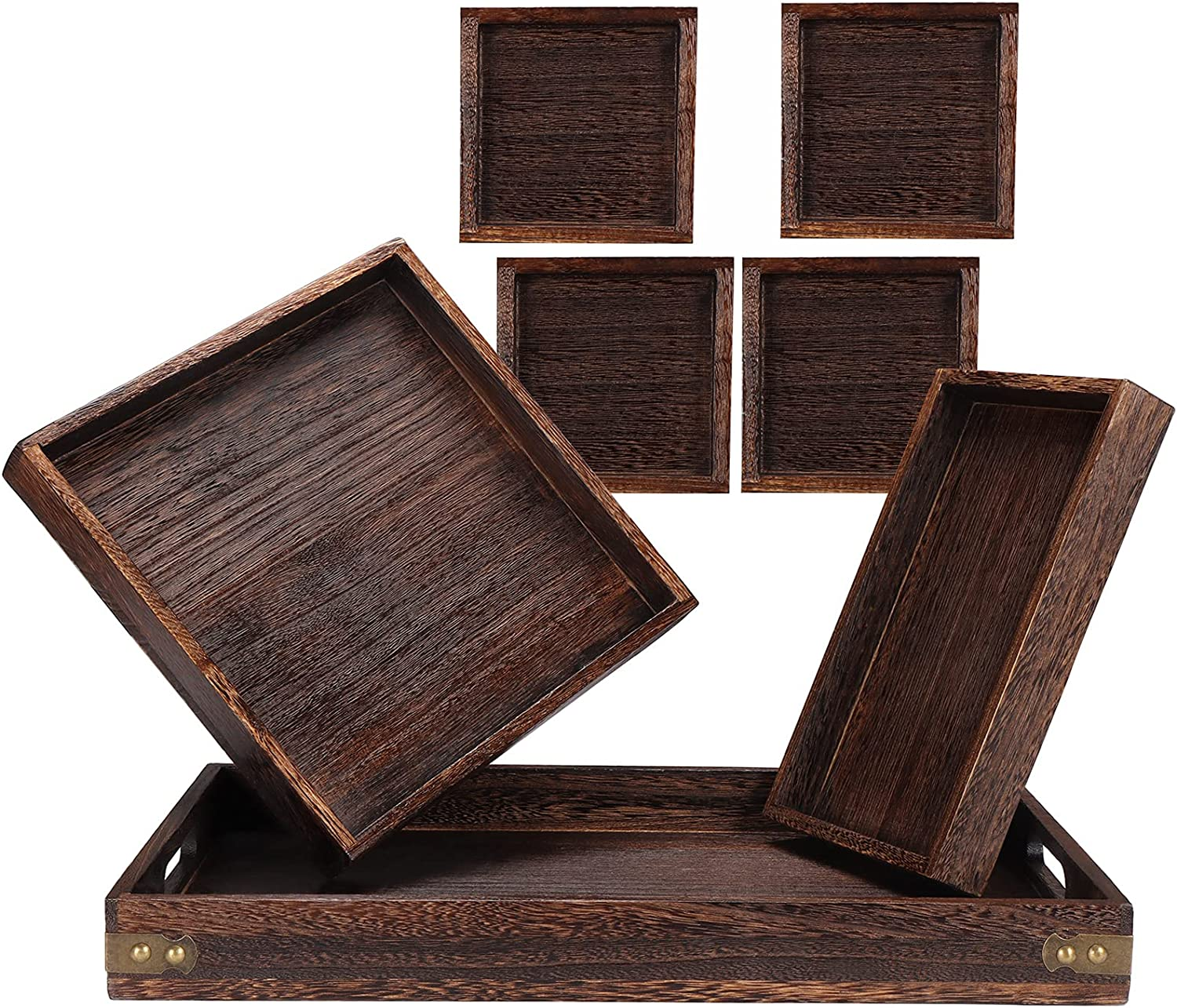 Yunson 7Pack Serving Tray Set,Breakfast Coffee Table Tray Ottoman Tray,Serve and Display Appetizers, Snacks, Bar Food Platter, and Rustic Farmhouse Home Decor Decorative Tray
