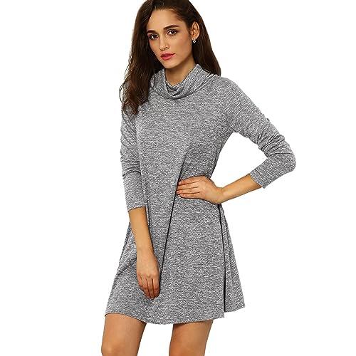 98bae02b4b SheIn Women's Casual Long Sleeve Cowl Neck Tunic T-Shirt Dress