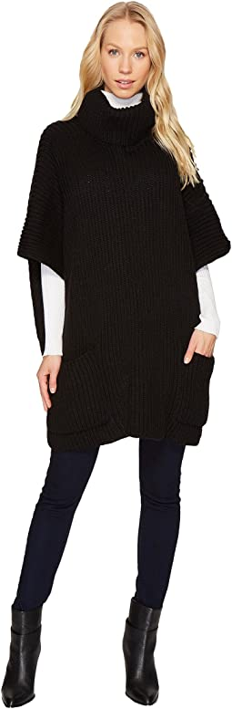 Steve Madden - Pocketed Rib Knit Poncho
