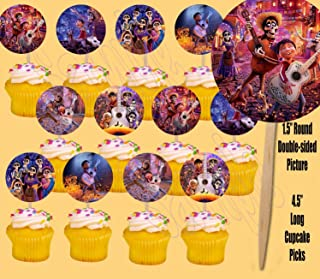 Party Over Here Coco Cupcake Picks Cake Toppers, Double-Sided, Miguel, Hector -12 pcs, Dia de Los Muertos, Day of The Dead