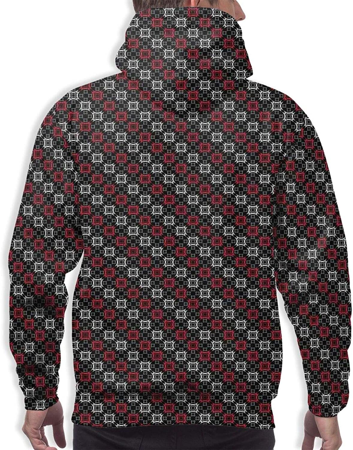Men's Hoodies Sweatshirts,Diagonal Lines Rectangle Frames Traditional Abstract Lily Shape Monochrome