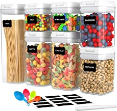 Koreal Airtight Food Storage Containers, 7 Pieces BPA Free Plastic Cereal Containers with Easy Lock Lids, for Kitchen Pant...
