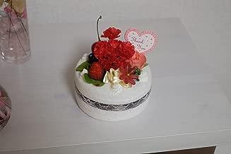 母の日にも母の日じゃなくても最適!高級造花アーティフィシャルフラワーのプードルケーキ プレゼント フラワーアレンジ フラワーギフト 結婚祝い アレンジメント 御祝 (造花ケーキホワイトBスワロ)