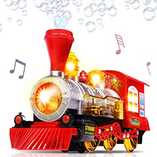 Bubble Blowing Toy Train with Lights and Sounds by ArtCreativity - Includes 5oz Bubble Solution and Plastic Funnel - Moving Bump and Go Steam Locomotive for Kids for Boys and Girls