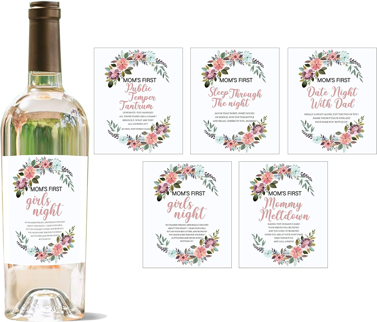 YouFangworkshop Mommy's First Milestone Wine Bottle Labels, Set of 5 Waterproof Wine Bottle Sticker Covers, Great Baby Shower Ideas for Mom to Be, Pregnancy for New Mom