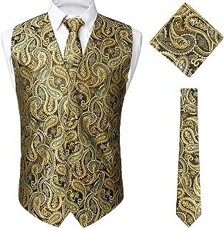STTLZMC Paisley Gilet Uomo Scollo a V Doppiopetto Slim Fit Elegante Matrimonio Panciotto & Cravate & Set Tascabile