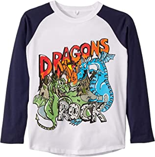 Baby Boy's Dragons Rock Raglan Long Sleeve T-Shirt (Toddler/Little Kids/Big Kids) Black/White 4T