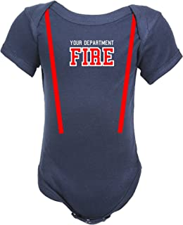 Personalized Firefighter Baby Navy Bodysuit (3 Mo.)