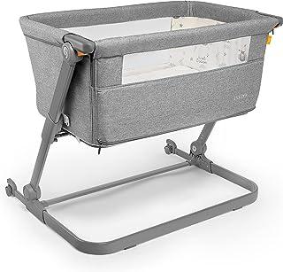 skiddou Babybett Natt 3in1 Beistellbett Reisebett Zustellbett, freistehendes Babybett für Kleinkinder, höhenverstellbar, zusammenklappbare leichte Aluminium Konstruktion, hellgrau