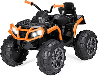 Best Choice Products 12V Kids Battery Powered Electric Rugged 4-Wheeler ATV Quad Ride On Car Vehicle Toy w/ 3.7mph Max Speed, Reverse Function, Treaded Tires, LED Headlights, AUX Jack, Radio - Orange