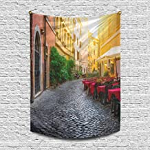INTERESTPRINT European Italian City Cozy Old Street Courtyard in Rome Wall Hanging Tapestry Art Home Decorations for Living Room Bedroom Dorm Decor, 60W X 80L Inch