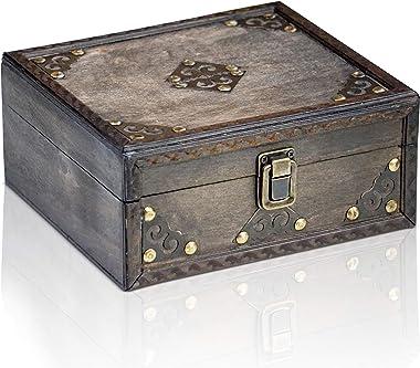 """Brynnberg - """"Monk 20x18x9cm Boîte de Rangement Coffre au Trésor - Boîte en Bois - trésor Poitrine"""