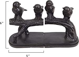 Creative Co-Op Resin Birds on a Branch Shaped Bookends (Set of 2 Pieces)