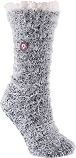 TCK Brands University Snow Christie Black and Ivory Feather Yarn Sherpa Fleece Lined Cozy Slipper Sock with Non-Skid Grippers