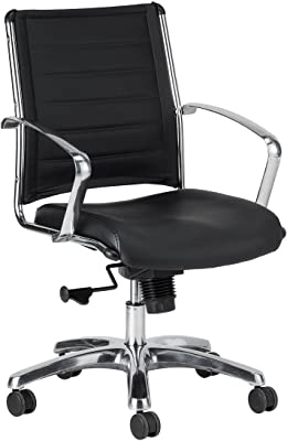 Eurotech Seating Europa Leather Mid Back Chair, Black